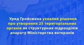 Схвалено рішення про утворення 25 територіальних органів Міністерства ветеранів